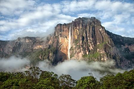 33348586 - closeup of the highest waterfall on a planet - salto angel