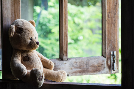 45654920 - teddy bear sit and waiting at  the window.