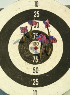 657404 - old dartboard with arrows like flags