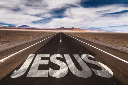 50695217 - jesus written on desert road