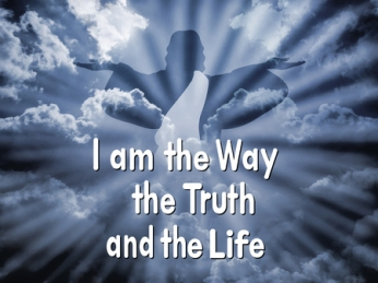 """47218032 - jesus with the word """"i am the way the truth and the life"""""""