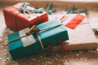 33930925 - classy christamas gifts box presents on brown paper