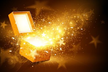 44614188 - christmas background with open golden box with stars and confetti
