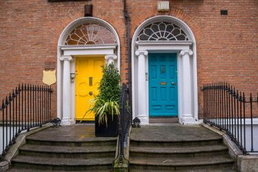 27267650 - vintage georgian doors in yellow and turquoise in dublin