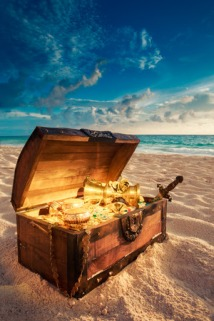 44405616 - open treasure chest with shinny gold