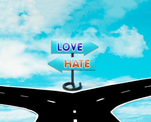 The choice between love or hate as a symbol