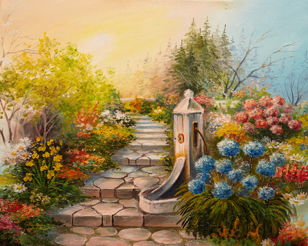 38223007 - oil painting - stone stairs in the forest